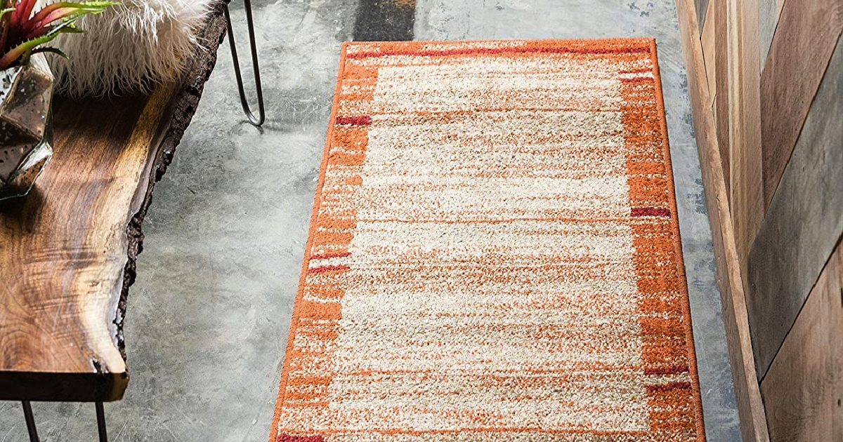 orange rustic runner rug on a floor