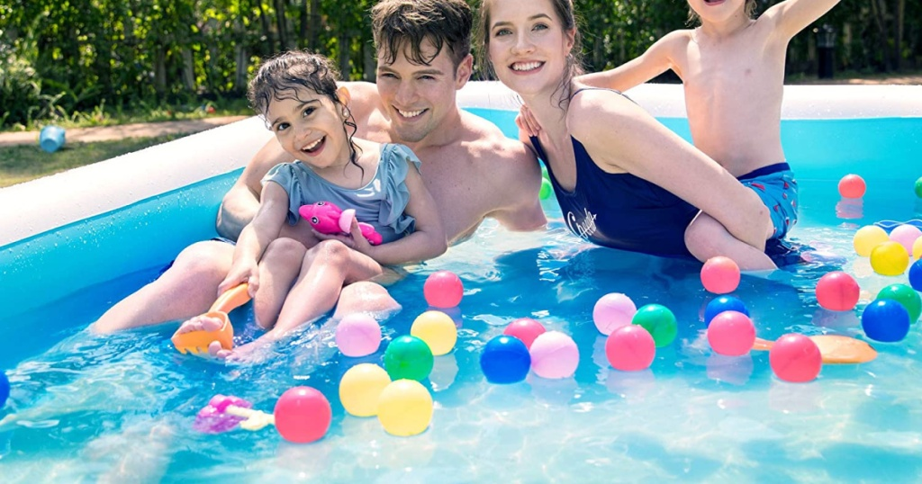 sable inflatable pool with family swimming