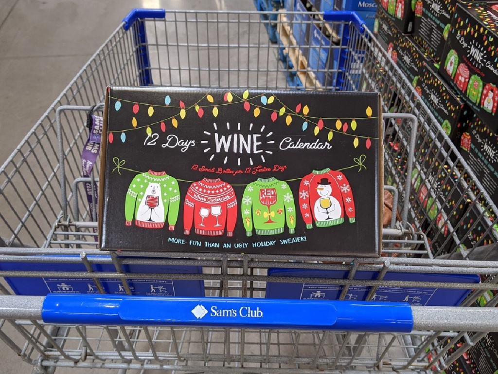 shopping basket with box of wine in it