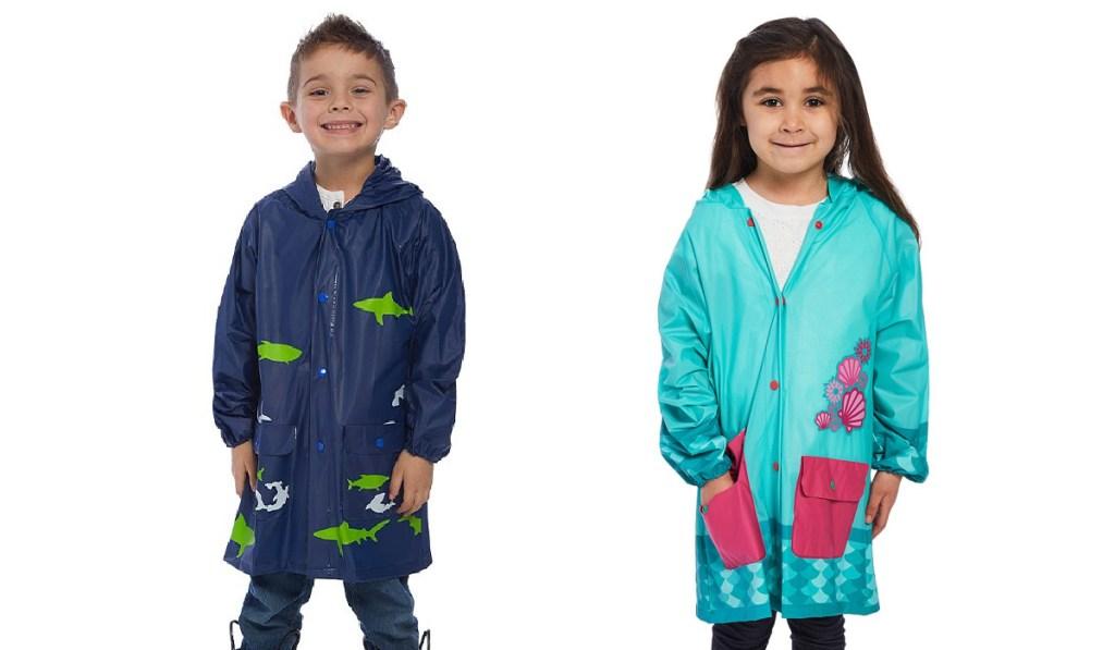 shark and mermaid raincoat on two kids