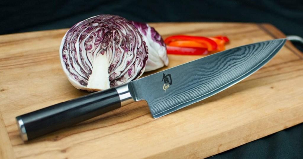 shun classic knife on cutting board