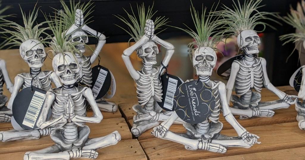 skeleton air planters doing yoga
