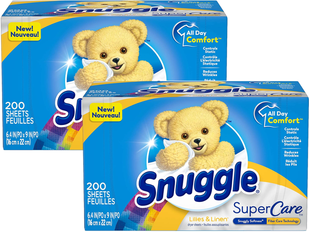 2 boxes of fabric softener sheets on white background