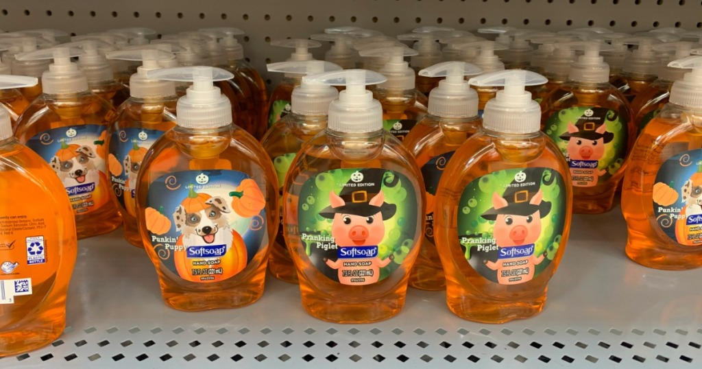 halloween themed softsoap hand soaps on a store shelf