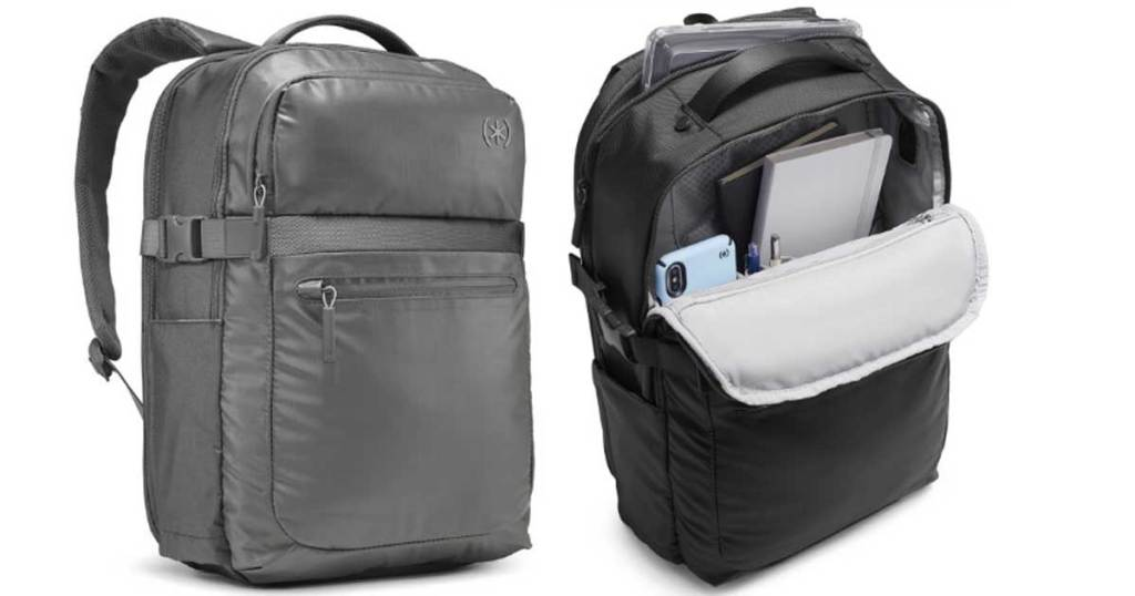 gray business backpack