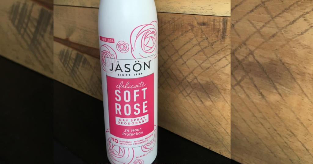 jason spray deodorant against hardwood wall