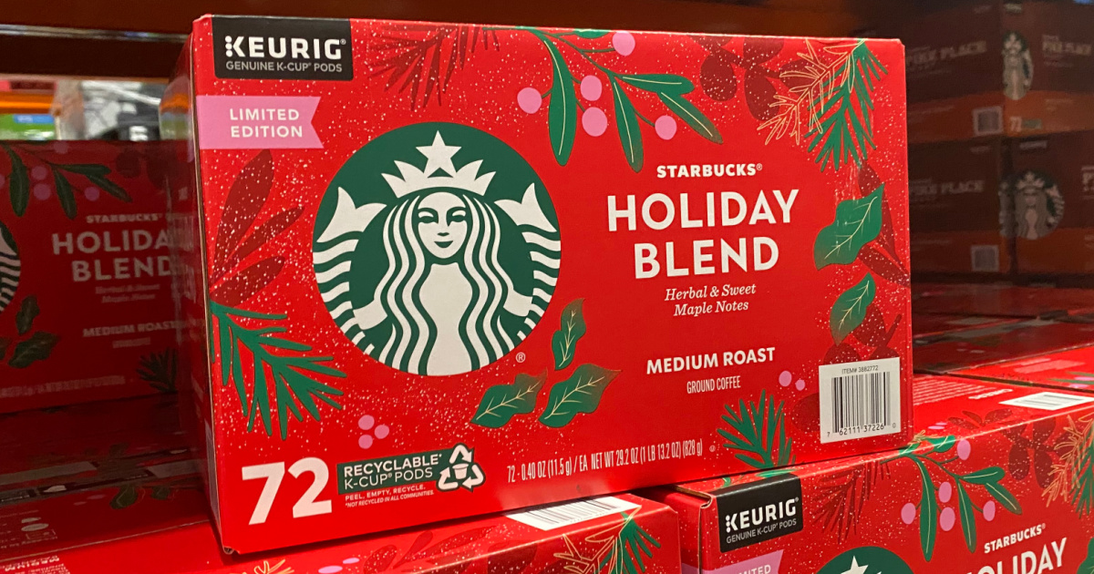 red box of Starbucks blend coffee in a store