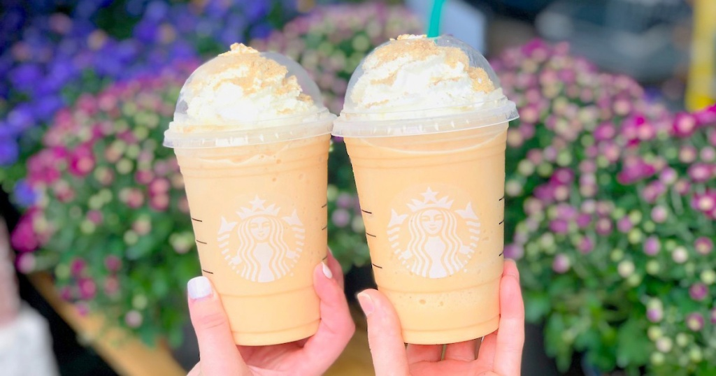 two pumpkin cheesecake frappuccinos from Starbucks
