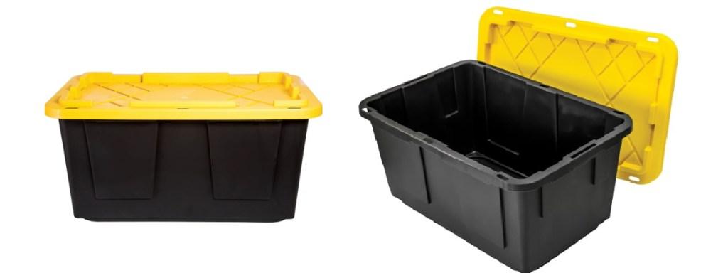 black bin with yellow lid