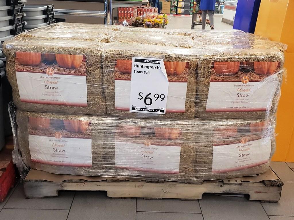 straw bales on display at ALDI