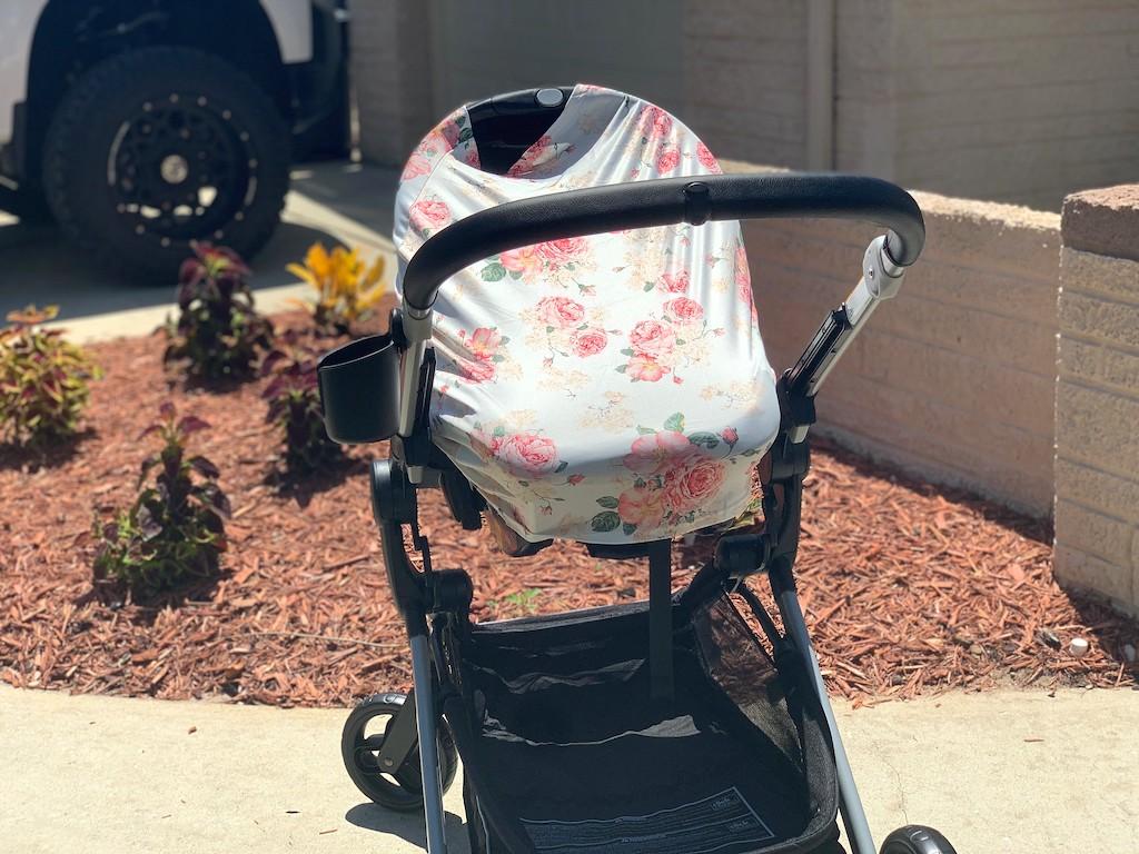 floral cover over stroller