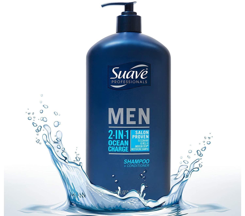 suave men shampoo splashing in water