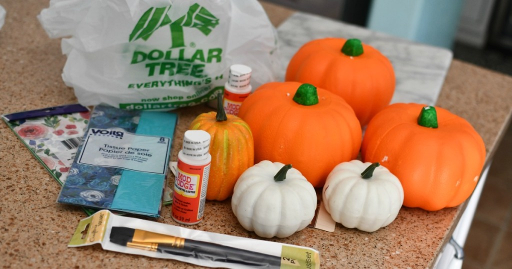 supplies from Dollar Tree for tissue paper pumpkins