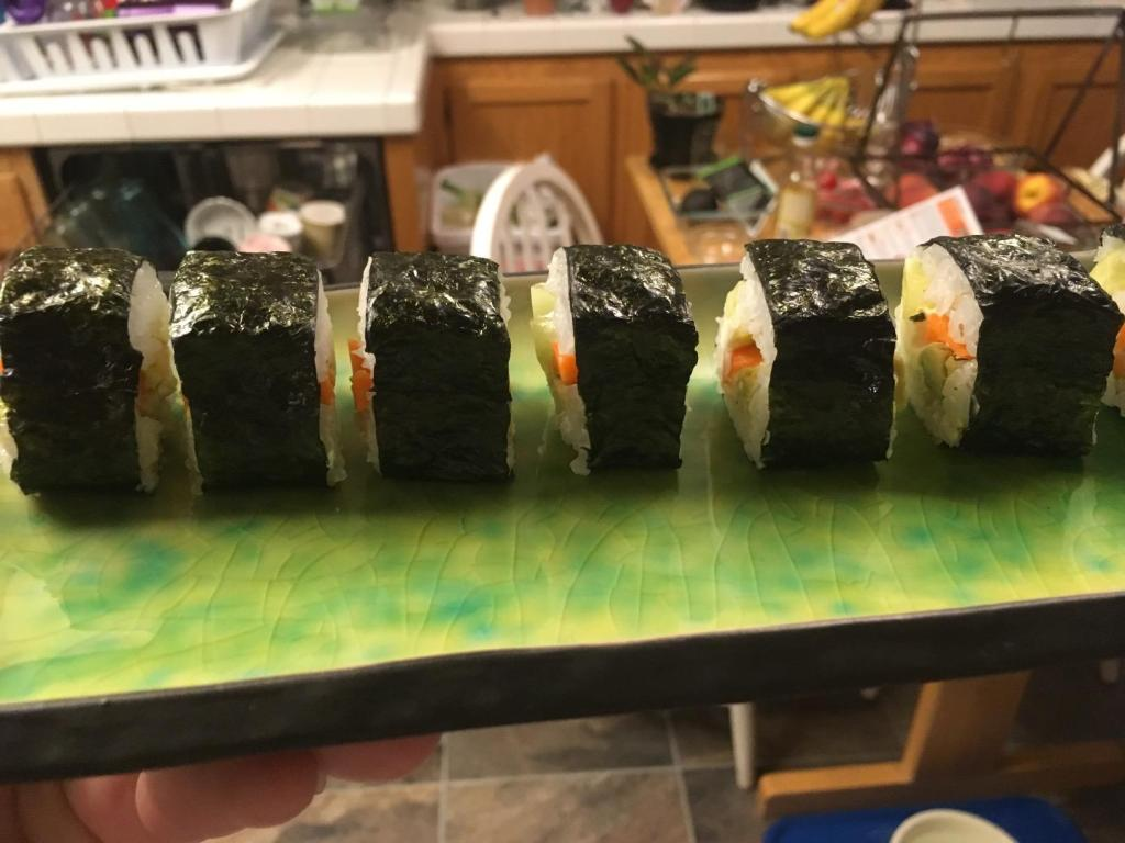 sushi rolls on plate at home