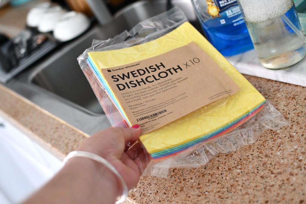 holding package of Swedish dishcloths