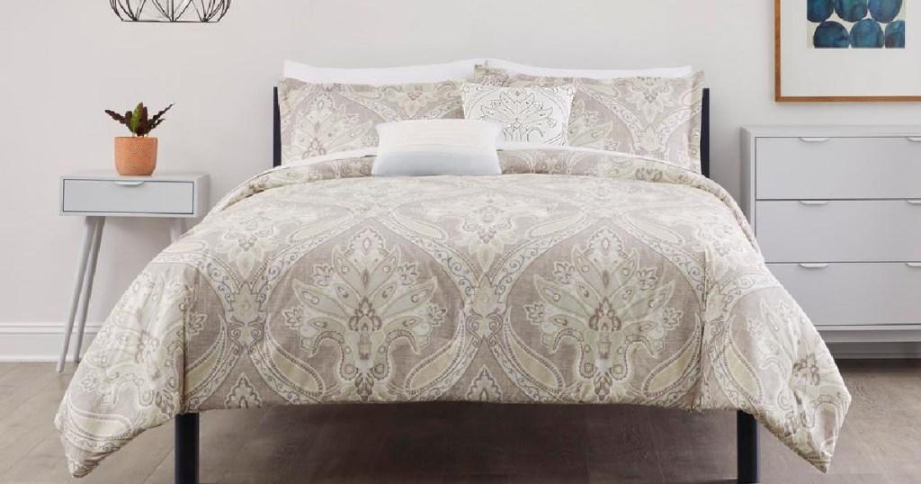 tan floral bedding set
