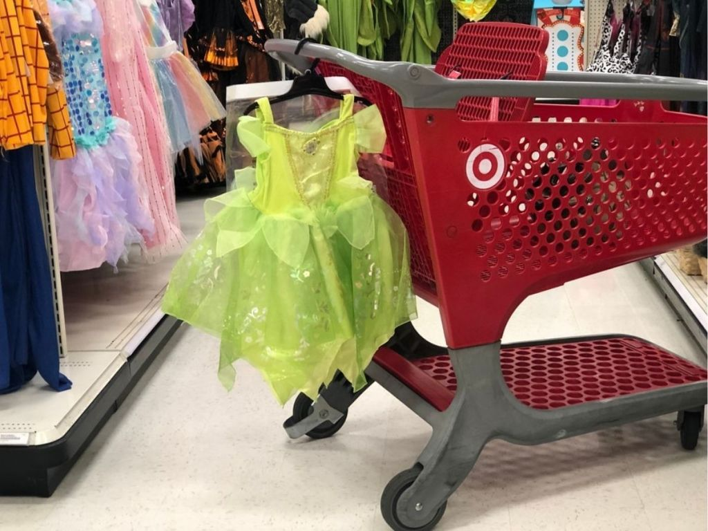 Halloween costume hanging from Target shopping cart