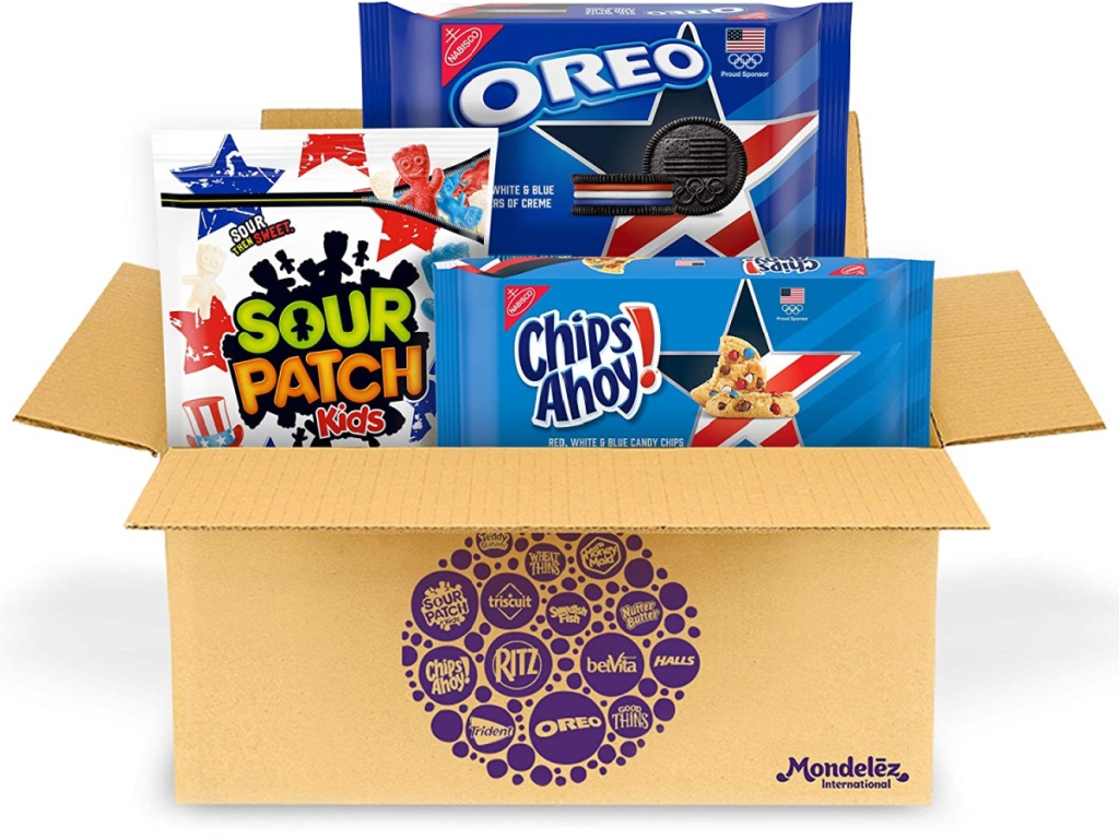 box showing 3 kinds of cookies going into it