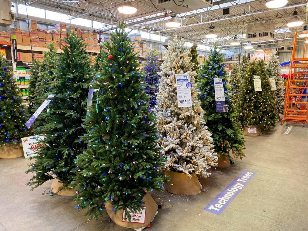 the home depot christmas tree display