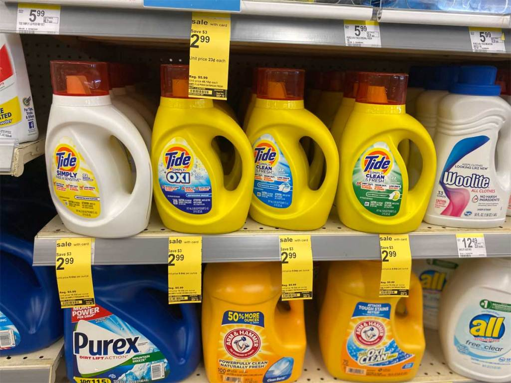 tide simply detergent on shelf in store