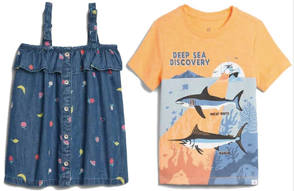baby girls dress and baby boys graphic tee