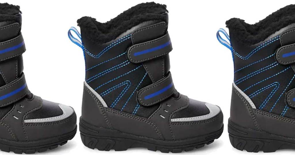 totes toddler winter boots in blue and black