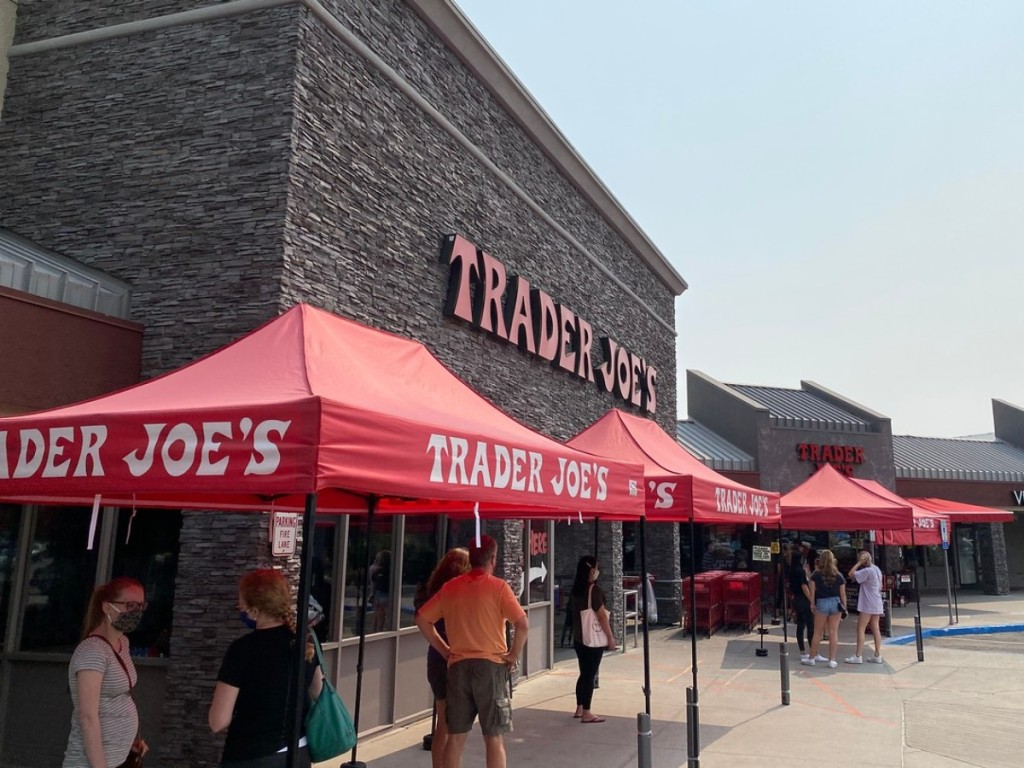 red tents outside of Trader Joe's