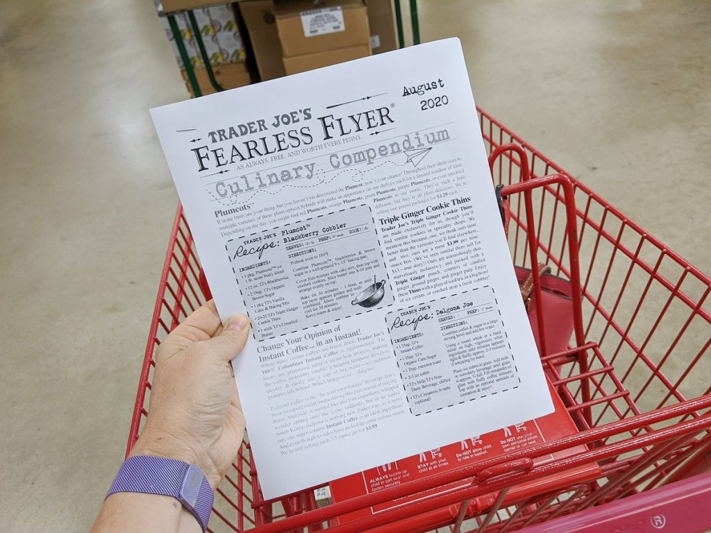 holding the Fearless Flyer at Trader Joe's