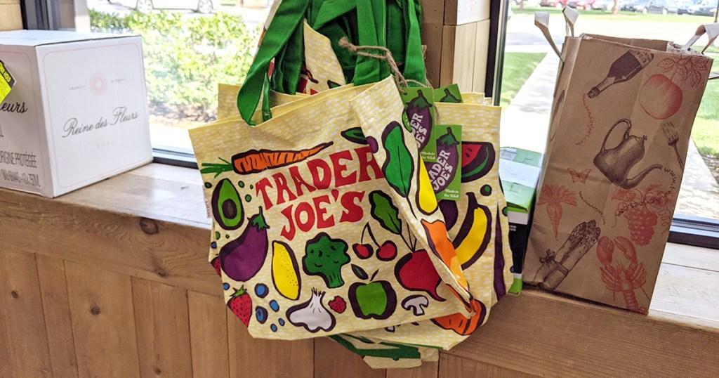 trader joe's shopping bag in store