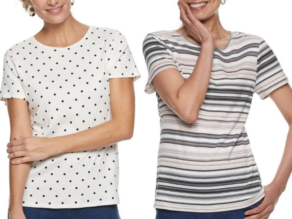 two women wearing Croft & Barrow crew neck t-shirts