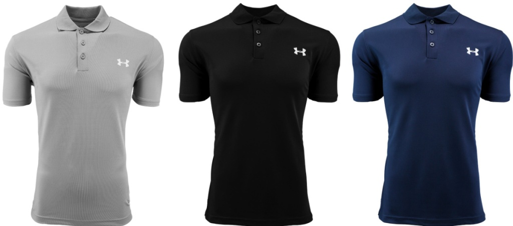 gray black and navy under armour polos