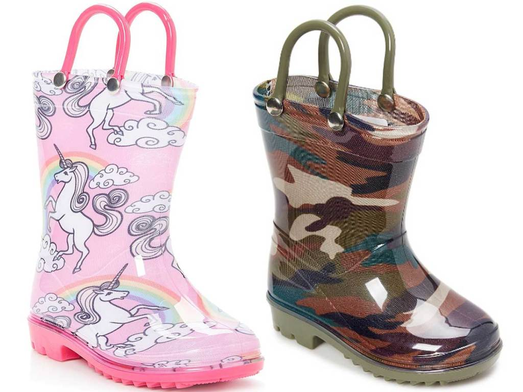 kids rainboots a unicorn and camo pair