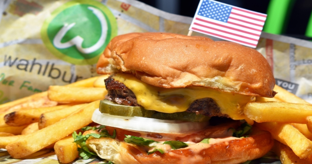 Wahlburger burger with fries