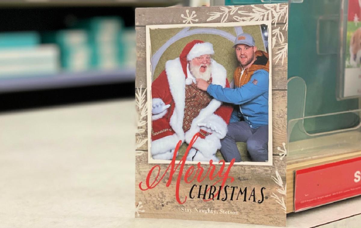 walgreens holiday card on counter