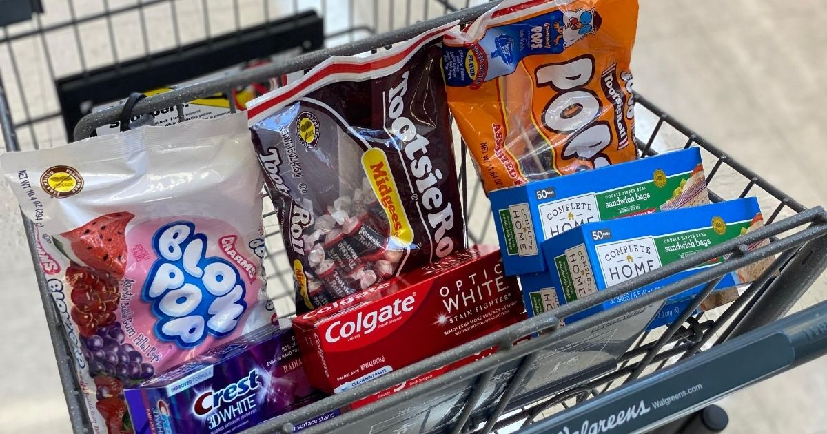 Walgreens cart with candy, toothpaste and storage bags