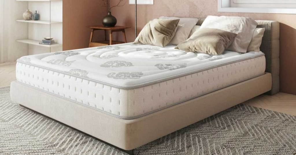mattress in a bedroom with pillows on it