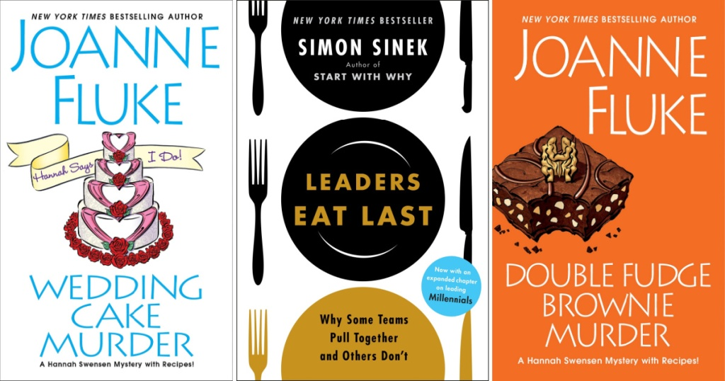 book covers of wedding cake murder, leaders eat last, double fudge brownie murder