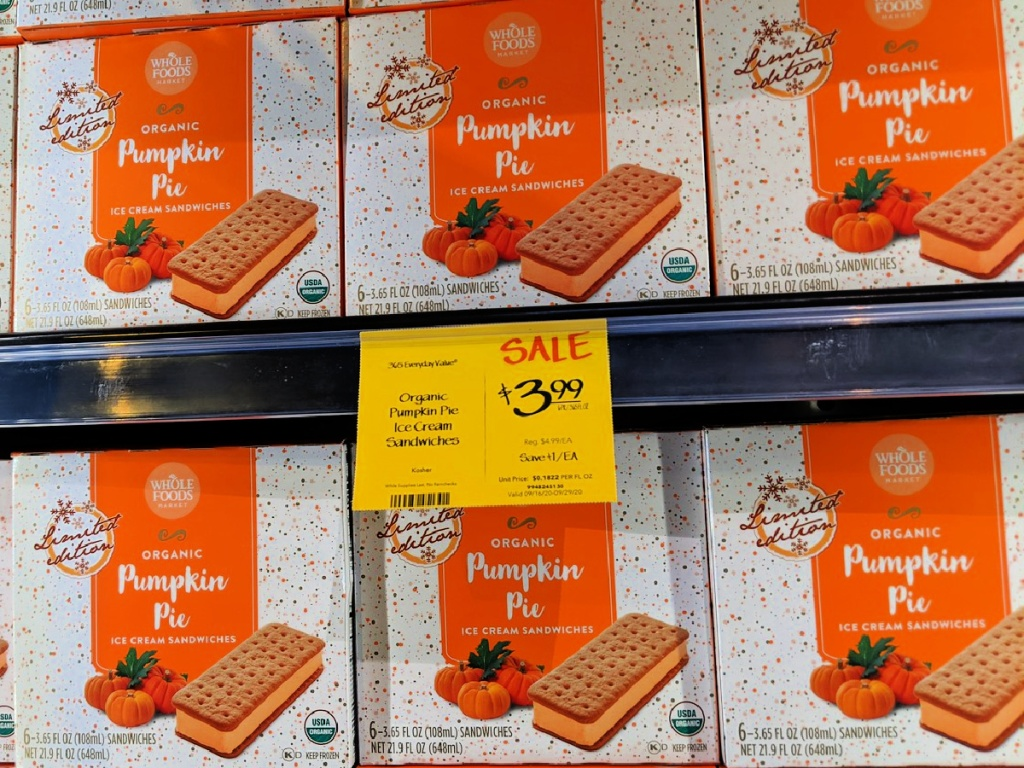 whole foods pumpkin pie ice cream bars in freezer at store