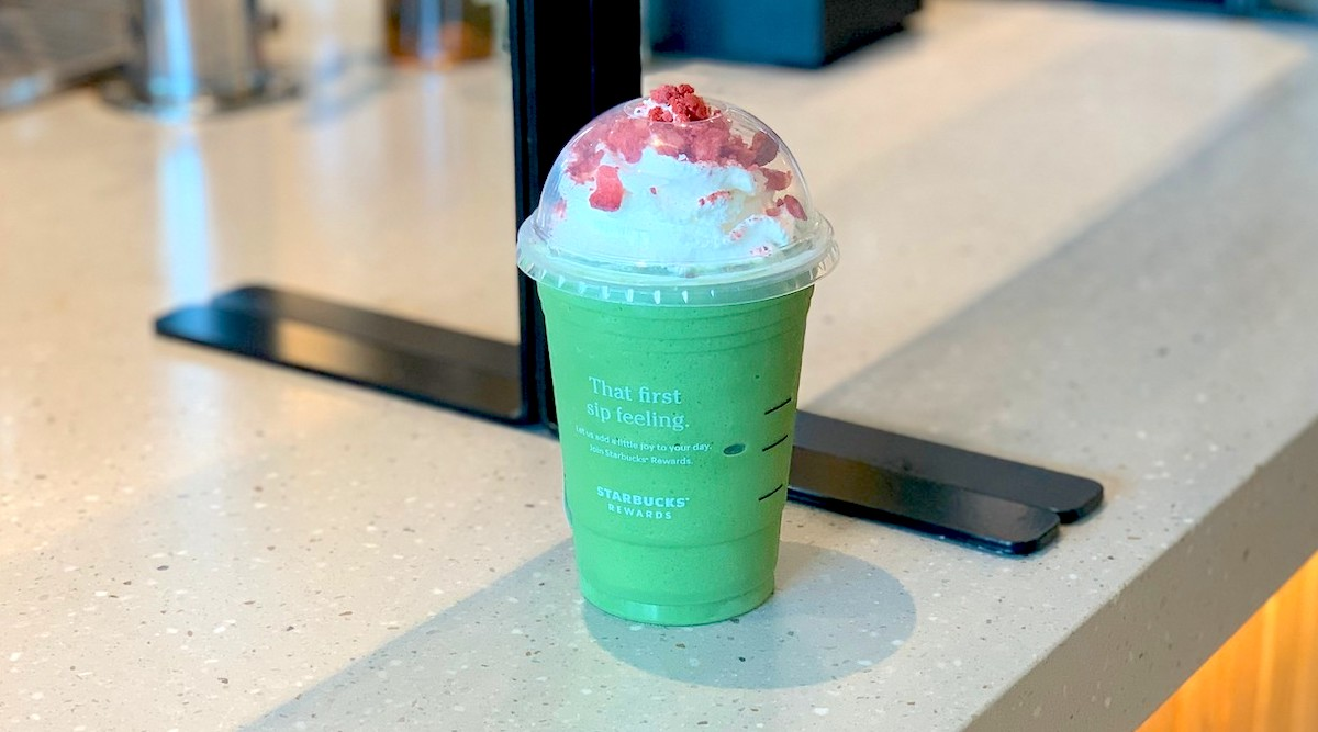 bright green starbucks winifred drink on counter