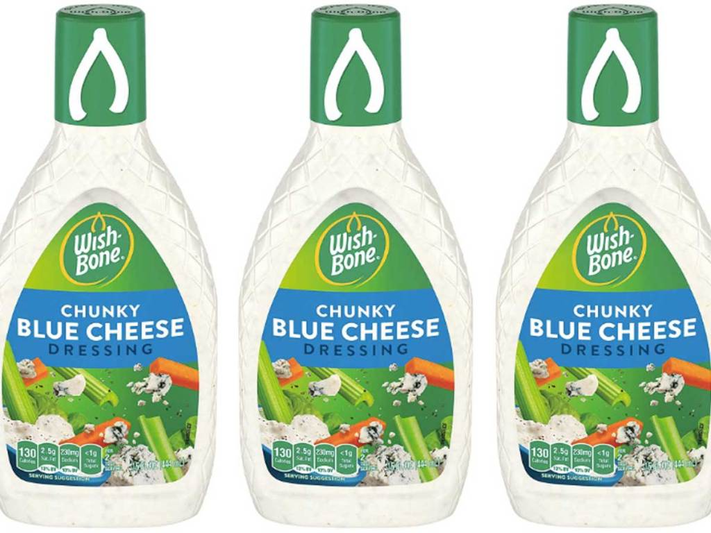 three bottles of salad dressig