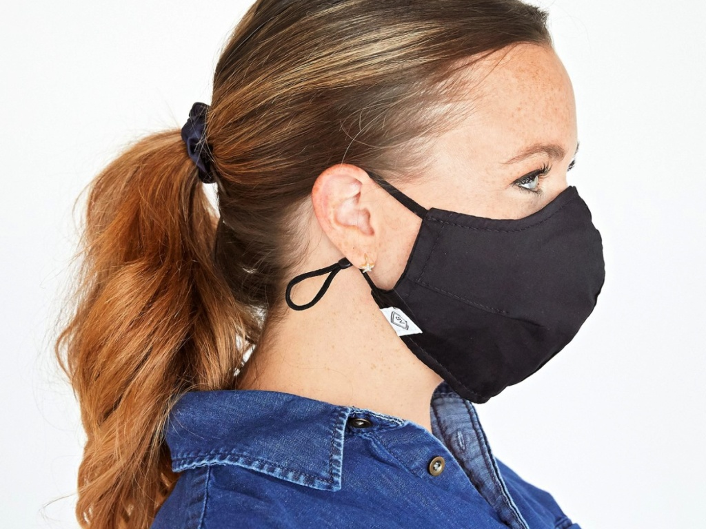 woman wearing a vera bradley Fitted Mask with Ear Adjusters