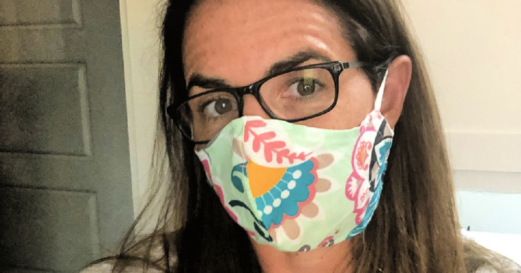 woman wearing vera bradley face mask