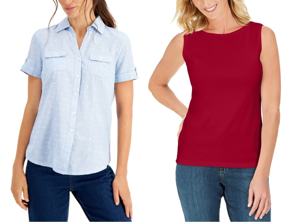 women wearing a light blue button up top and red tank top