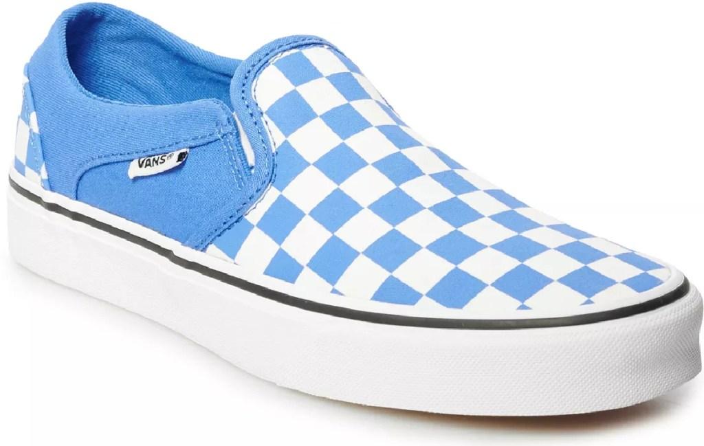 womens blue checkered vans