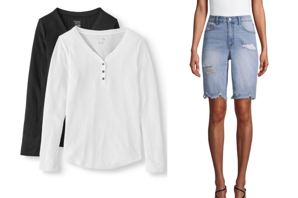 womens clothing tops and jean bermuda shorts