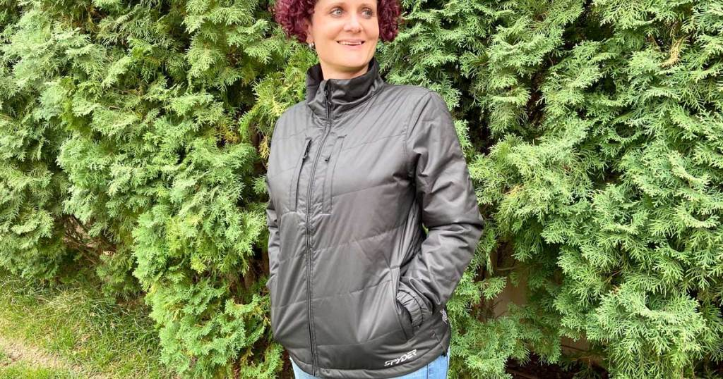 woman wearing a fall jacket outside