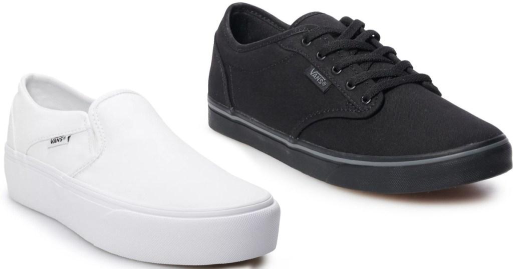 womens vans white and black