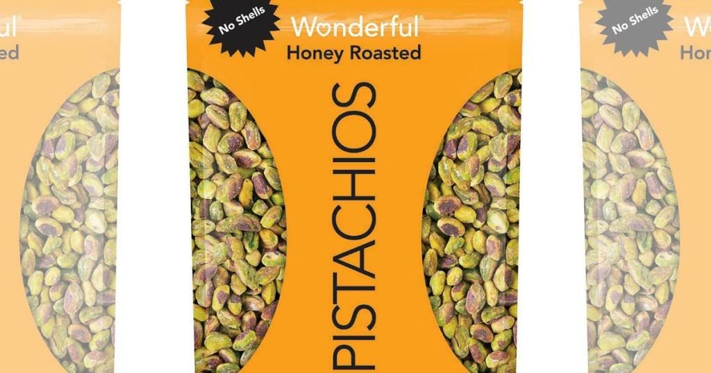 wonderful honey roasted pistachios bags