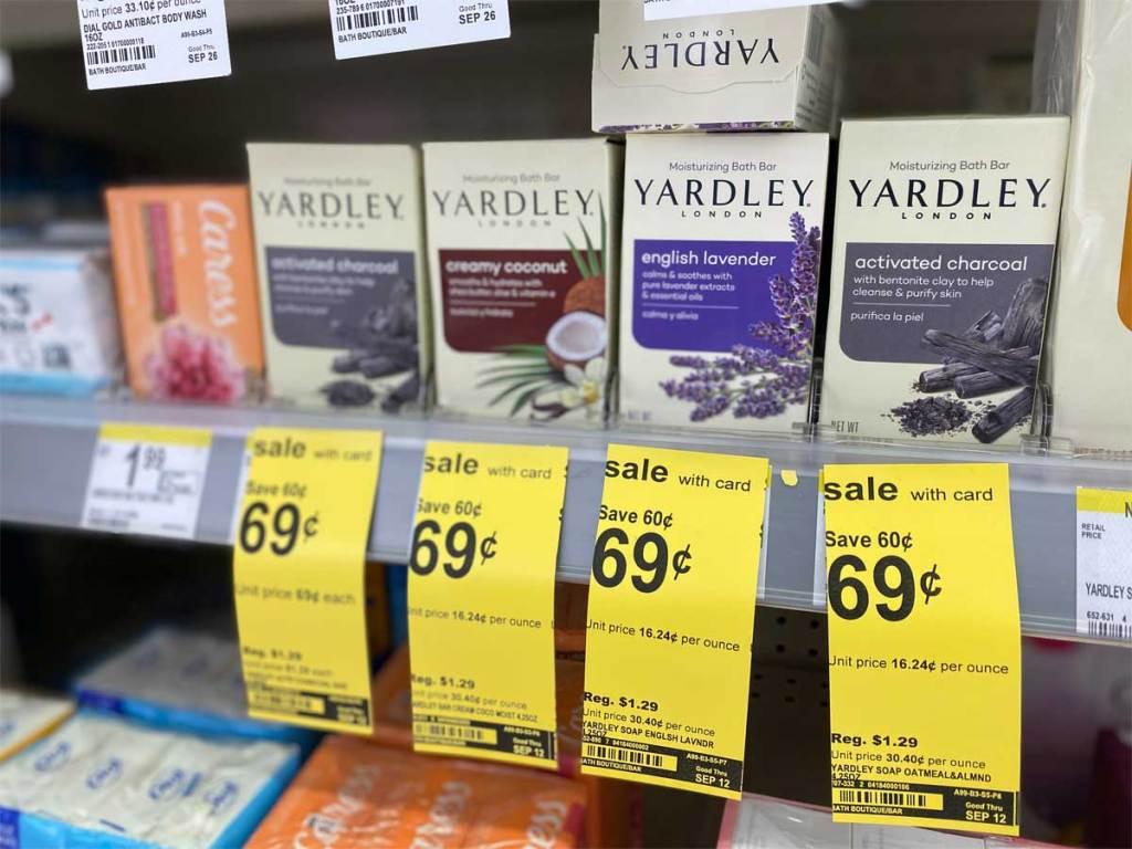 bars of soap on shelf in store