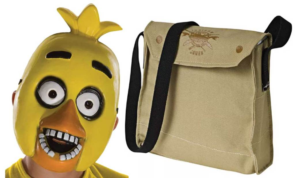 yellow bird mask and tote bag